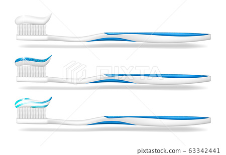 Toothbrush with toothpaste isolated. Mockup tooth brush for dental care poster design. Stomatology white toothbrush equipment. vector illustration 63342441