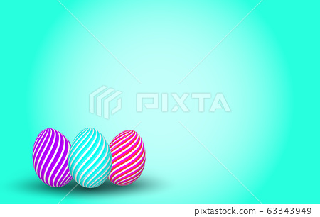 Colorful striped easter eggs on vivid background. 63343949