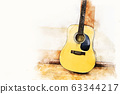 Acoustic guitar in the foreground on watercolor painting background and digital illustration brush to art. 63344217