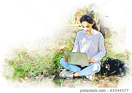 Young creative woman smile portrait and working laptop for working out office watercolor illustration painting background. 63344377