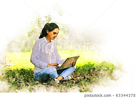 Young creative woman smile portrait and working laptop for working out office watercolor illustration painting background. 63344378