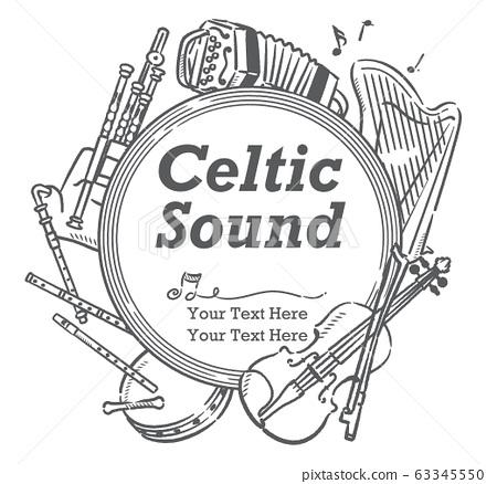 使用愛爾蘭樂器可用於海報等的插圖材料 63345550