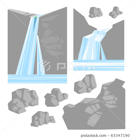 Collection of painted stones and waterfalls, vector illustration. 63347190