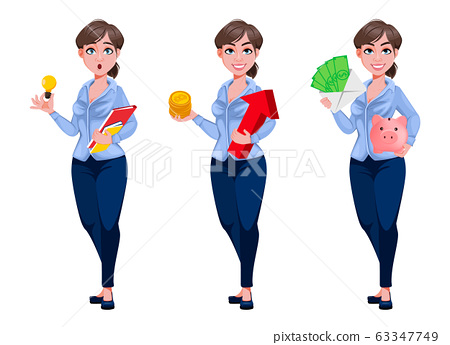 Young beautiful business woman cartoon character 63347749