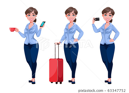 Young beautiful business woman cartoon character 63347752