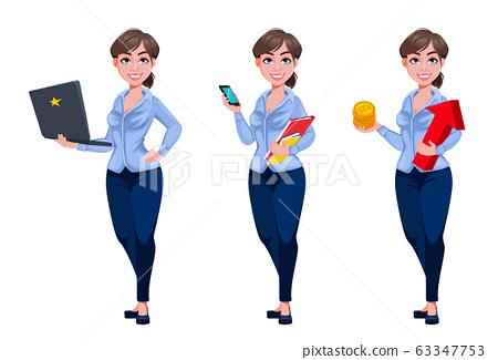 Young beautiful business woman cartoon character 63347753