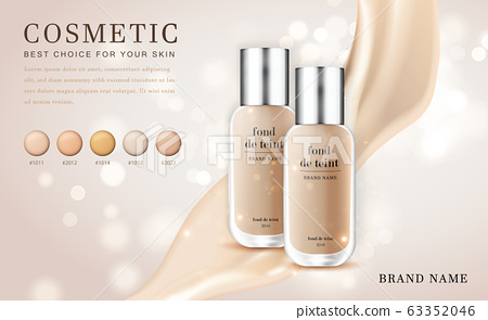 Vector 3D cosmetic make up illustration foundation product bottle with creamy shiny elegant background 63352046