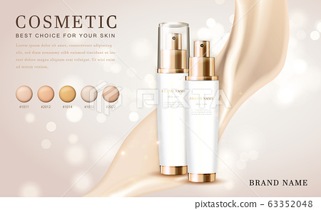 Vector 3D cosmetic make up illustration foundation product bottle with creamy shiny elegant background 63352048