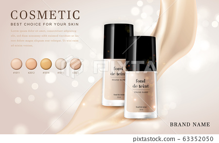Vector 3D cosmetic make up illustration foundation product bottle with creamy shiny elegant background 63352050