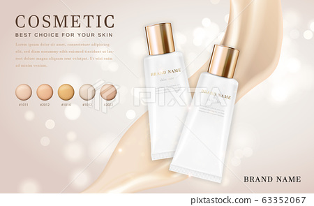 Vector 3D cosmetic make up illustration foundation product bottle with creamy shiny elegant background 63352067