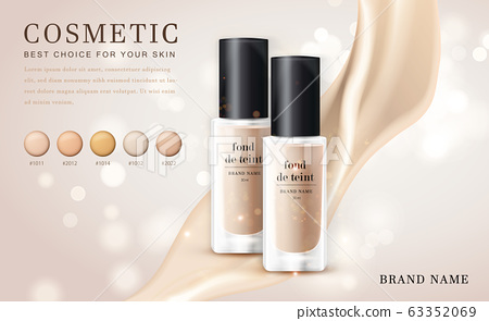 Vector 3D cosmetic make up illustration foundation product bottle with creamy shiny elegant background 63352069