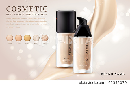 Vector 3D cosmetic make up illustration foundation product bottle with creamy shiny elegant background 63352070