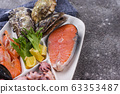 Set of various seafood in plate 63353487
