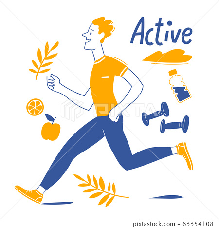 Active lifestyle motivational vector design with running man 63354108