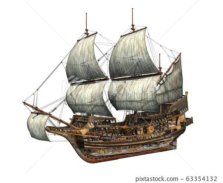 Golden Hind galleon cutaway 3d illustration. 63354132