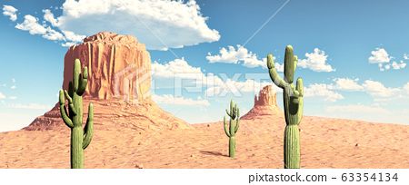 Monument Valley view with cactus. 3d illustration. 63354134