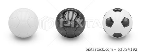 3D rendering Set of Soccer Balls on white background 63354192