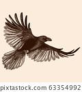 Raven in flight. 63354992