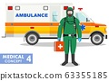 Medical concept. Detailed illustration of emergency doctor in protective suit and mask near ambulance car in flat style background. Dangerous profession. 63355185