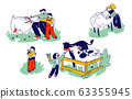 Little Kids Visit Farming Zoo with Parents. Children Characters Petting Domestic Animals Care of Cows, Sheep, Rabbits and Goat. Father and Boy Spend Time on Weekend. Linear People Vector Illustration 63355945