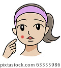 Illustration of a woman who found acne and breakouts 63355986