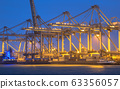 Container terminal at sunset 63356057