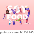 Soy Products Concept. Organic Natural Food of Soya Beans. Sauce, Meat and Milk from Legume Pods, Tiny Characters Eat Healthy Snacks and Meal Poster Banner Flyer. Cartoon People Vector Illustration 63356145