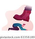 Huge Boot Trample Frightened Humiliated Man Standing on Knees. Large Leg Pressing on Man Fell on All Fours. Concept of Humiliation of Human Dignity and Rights Violation. Cartoon Vector Illustration 63356189