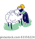 Happy Girl Character Hugging Cute Sheep in Farm Zoo. Care of Animals, Excursion to Ranch or Village Farmyard, Summer Spare Time, Family Leisure. Communication with Animals. Linear Vector Illustration 63356224