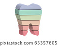 multi colors or rainbow tooth is slice to small part and flying in the air 63357605