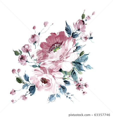 色彩豐富的水彩花卉素材組合和設計元素 63357746