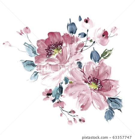 色彩豐富的水彩花卉素材組合和設計元素 63357747