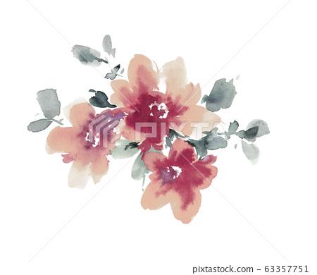 다채로운 수채화 꽃 재료 조합 및 디자인 요소 63357751