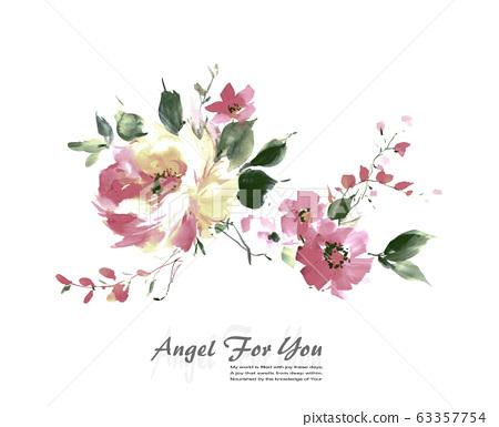 色彩豐富的水彩花卉素材組合和設計元素 63357754