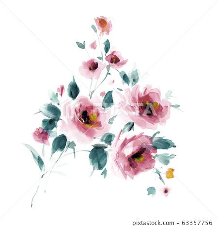 色彩豐富的水彩花卉素材組合和設計元素 63357756