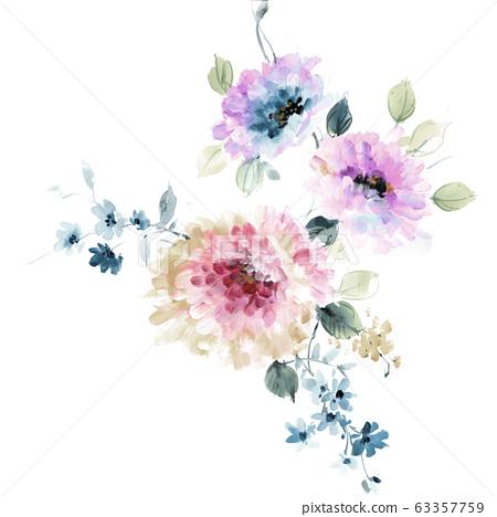 色彩豐富的水彩花卉素材組合和設計元素 63357759