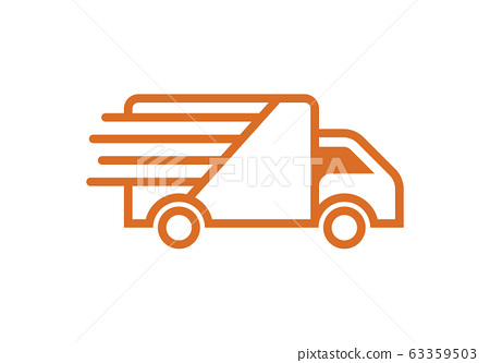 Fast moving shipping delivery truck vector icon for transportation apps and websites 63359503