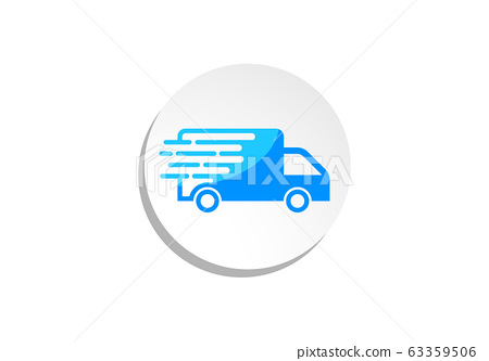 Fast moving shipping delivery truck vector icon for transportation apps and websites 63359506