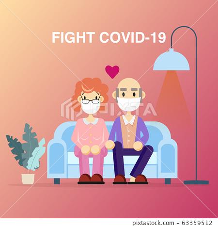 Elderly retirement wear masks protection fight 63359512