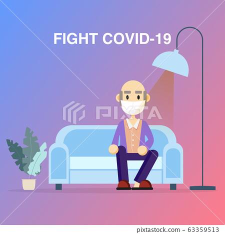 Elderly retirement wear masks protection fight 63359513