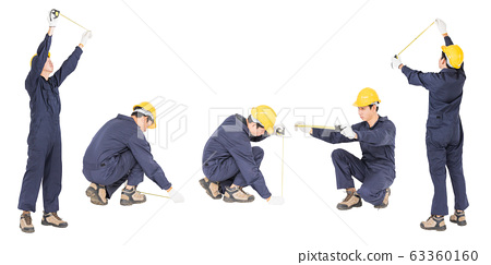 Young worker in uniform with tape measure, Cut out isolated on white background  63360160