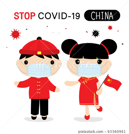 Chinese People to Wear National Dress and Mask to Protect and Stop Covid-19. Coronavirus Cartoon Vector for Infographic.   63360981