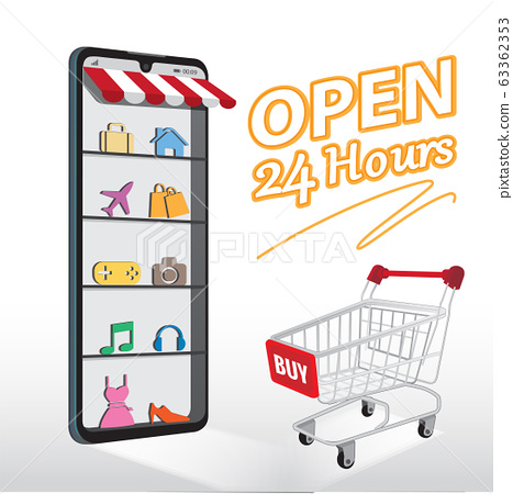 Smartphone with shopping app. 63362353