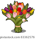 Bouquet of multicolored tulips isolated on white background. Vector cartoon close-up illustration. 63362576