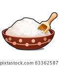 Clay bowl with white powder isolated on white background. Vector cartoon close-up illustration. 63362587
