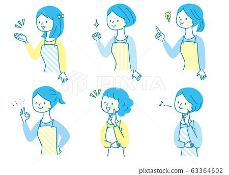 미소 젊은 여성 앞치마 세트 63364602