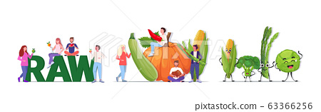 set people holding different vegetables and fruits cartoon mascot characters vegan fresh raw food concept full length horizontal 63366256