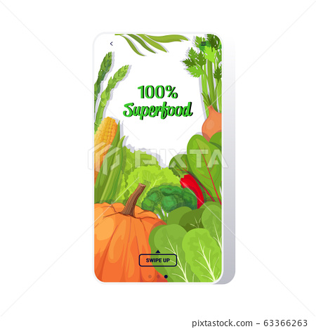 fresh vegetables and herbs composition healthy vegetarian nutrition natural product superfood concept smartphone screen mobile app 63366263