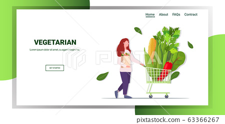 woman pushing trolley cart with different vegetables healthy lifestyle vegan fresh food concept full length horizontal copy space 63366267