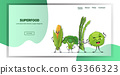 cute fresh corn cabbage asparagus and cabbage characters standing together tasty mascot vegetable personages healthy food concept horizontal copy space 63366323